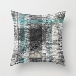 Simple Birch Bark Plaid Pattern Teal Grey White Cream Throw Pillow