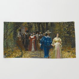 The Lovers (Les Fiances) amazing Versailles Palace landscape painting by Firmin Girard Beach Towel