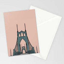 St. Johns Bridge Illustration Pink PDX Stationery Cards