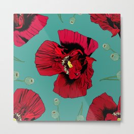 Seasons K Designs Red Poppy on Aqua Print Metal Print
