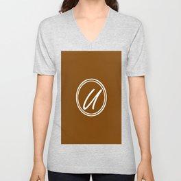 Monogram - Letter U on Chocolate Brown Background Unisex V-Neck