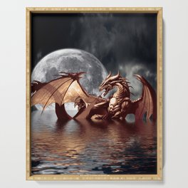 Mystical Dragon and Moon Fantasy Design Serving Tray