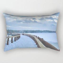 Boardwalk on the Frozen Lake Rectangular Pillow