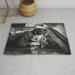 The Kiss - The Last Goodbye - Lovers kissing goodbye through open window on train black and white photograph Rug
