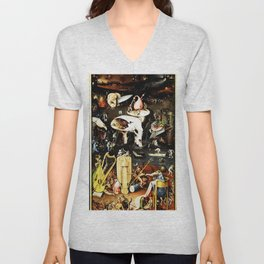 Bosch Garden Of Earthly Delights Panel 3 - Hell Unisex V-Neck