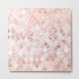 Mermaid Art, Blush Pink and Rose Gold Metal Print