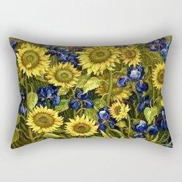 Sunflowers & Blue Irises by Vincent van Gogh Rectangular Pillow
