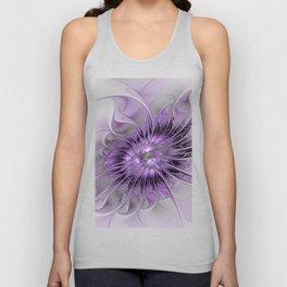 Lilac Fantasy Flower, Fractal Art Unisex Tank Top