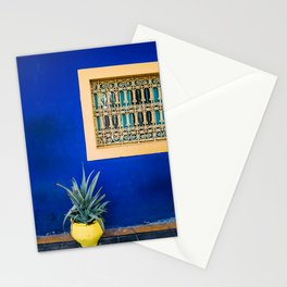 Moroccan Garden In Blue | Yellow Flower Pot | Agave Marrakesh Stationery Cards