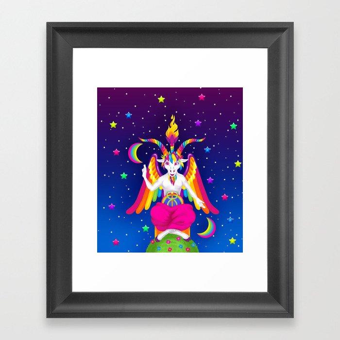 1997 Neon Rainbow Baphomet Gerahmter Kunstdruck