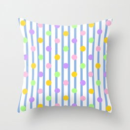 Pastel Dots and Stripes Throw Pillow