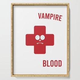 """Save A Vampire Donate Blood"" T-shirt Design Spooky Creepy Halloween Spell Cast Black Magic Curse Serving Tray"