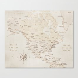 Sepia vintage map of North America - PRINTS IN SIZES L and XL Canvas Print
