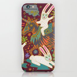 Three Rabbits and a Unicorn iPhone Case