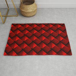 Abstract fish scales from red braided squares with bright futuristic checkers.  Rug