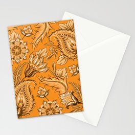 Paisley Print Floral Flowers Orange Black White Stationery Cards