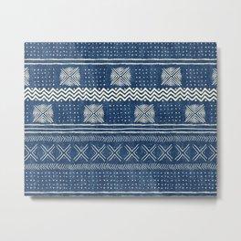 Mud Cloth Geometric Stripe Navy Metal Print