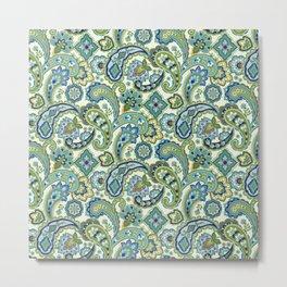 Blue and Green Paisley Metal Print