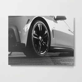 Black Rim Sports Car // White Paint Street Level B&W German Bavarian Motor Automobile Photograph Metal Print
