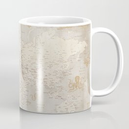 Vintage looking current world map with sea monsters and sail ships Coffee Mug