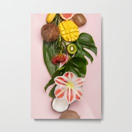 Creative flat lay with tropical fruits and plants on pink background Metal Print