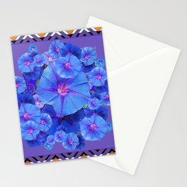 Purple Western Pattern Blue Morning Glory Floral Art Stationery Cards
