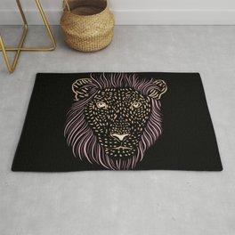 Shaggy Lion - Funny Male Big Cat - Hand Drawn Lion Head Rug