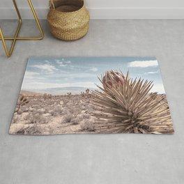 Cactus Wildflower // Desert Landscape Joshua Tree Dusty Blue Sky Rug
