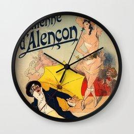 Folies Berg Res Emilienne D Alen On 1900 By Jules Cheret | Reproduction Art Nouveau Wall Clock