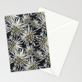 Mum Floral Pattern - Mum's the word - Black and White Floral Design - White Mum Flowers - I Love my Stationery Cards