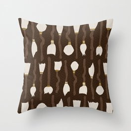 Magic broom cupboard halloween pattern Throw Pillow