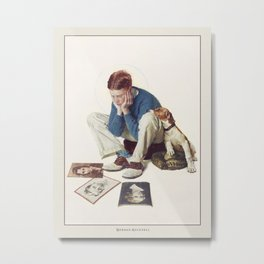 Vintage Poster-Norman Rockwell-Boy Gazing At Cover Girls. Metal Print