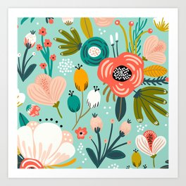 Mid-Century Modern Floral Print With Trendy Leaves Art Print