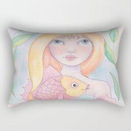 Mermaid with Fish Rectangular Pillow