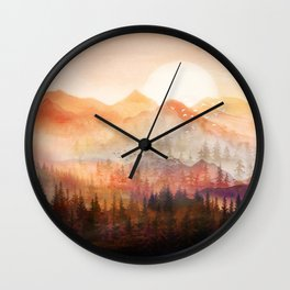 Forest Shrouded in Morning Mist Wall Clock