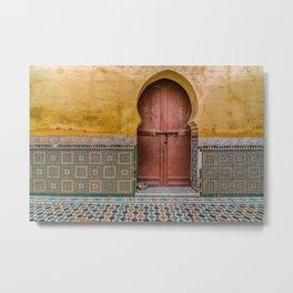 Morrocan Door and Tile Work Metal Print