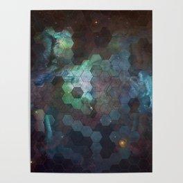 Nebula Hexagons Poster