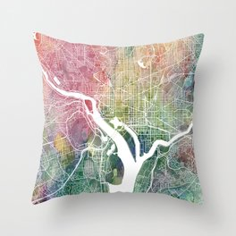 Washington DC Map Watercolor by Zouzounio Art Throw Pillow