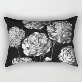 Beautiful Carnations vintage painting floral Black and white Rectangular Pillow