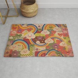 Kitschy Cute Kawaii Rainbows and Happy Clouds Rug