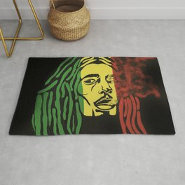 rasta man,vibration,jamaica,reggae,music,smoke,ganja,weed,pop art,portrait,wall mural,wall art,paint Rug