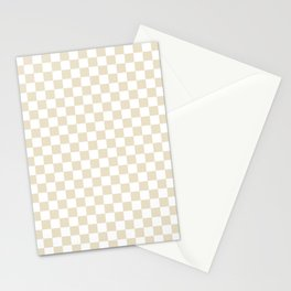 Small Checkered - White and Pearl Brown Stationery Cards