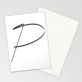 """"""" Singles Collection """" - One Line Minimal Letter P Print Stationery Cards"""