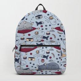 Sleepy Cat Dreams Pattern, Grey Backpack