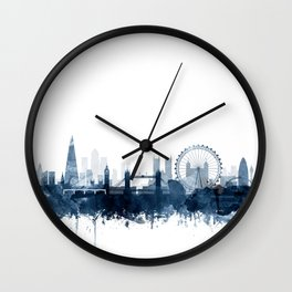 London City Skyline Blue Watercolor by zouzounioart Wall Clock