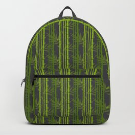 Lime Green Bamboo Leaves Pattern on Grey Backpack