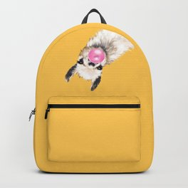 Bubble Gum Sneaky Llama in Yellow Backpack