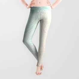 Pastel White Mandala Pattern Leggings