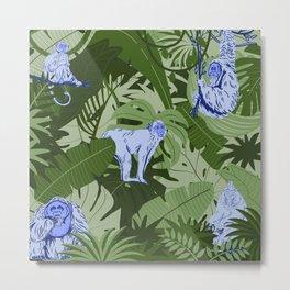 Blue Monkey Jungle Metal Print
