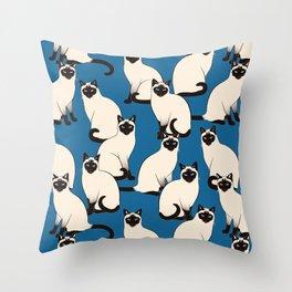 Siamese Cats on dark blue Throw Pillow